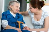 community services care worker elderly woman patient
