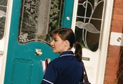 Nurse arrives at a patient's home