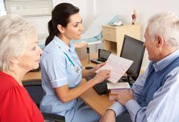 nurse with senior patients