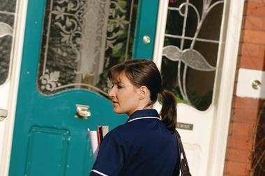 Nurse arrives at a patient's home