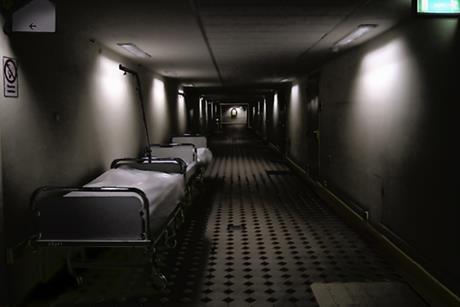 Dark hospital corridor