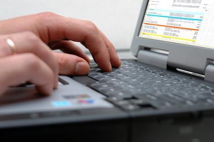 laptop computer spreadsheet