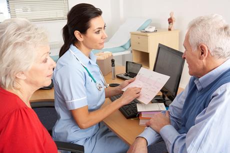 nurse with senior patients
