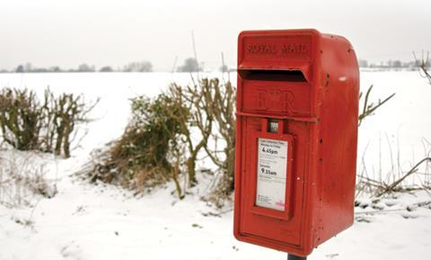 A postbox in the snow