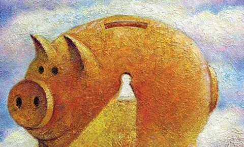 Illustration showing piggy bank with keyhole in the side