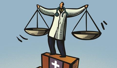 Doctor holding scales cartoon